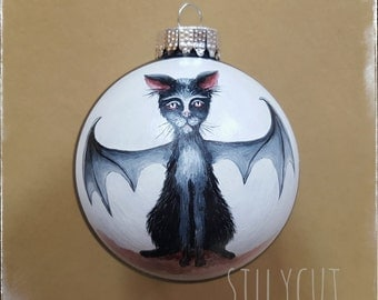 Ornament - Batcat, gothmas, glass bauble, handpainted, gothic, dark art, Xmas, 1 pc