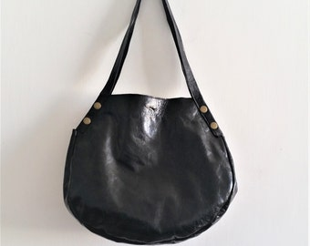 Leather tote - Every day bag - Women bag- BLACK