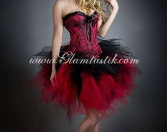 Size Medium Red and Black Rose tea length lace burlesque corset prom dress with tulle skirt - READY TO SHIP