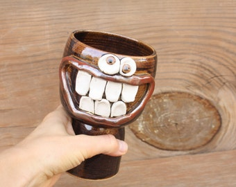 Wine Glass. Ceramic Clay Goblet. Stoneware Pottery Drinking Glass. Special Occasion Toasting Chalice in Black. Big Grin 14 Oz Smiley Face.
