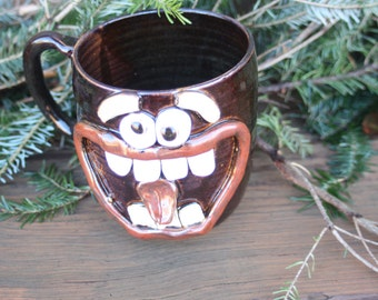Coffee Mug Cup. Black Stoneware Handmade Pottery. Dentist Hygienist Gifts. Extra Large 20 Oz Smiley Face Big Beer Tankard.