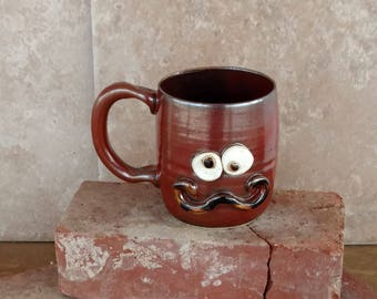 Man's Mustache Mug, Large 14 Ounces. Handlebar Mustachio Coffee Cup in Cinnamon Red Brown. Big Clay Pottery Stein. Large Beer Mug.