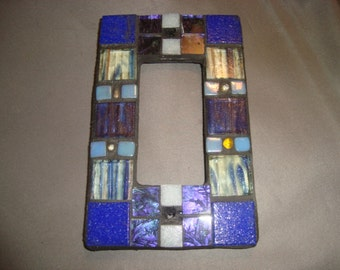 MOSAIC Outlet Cover or Switch Plate, GFI Decora, Wall Plate, Wall Art, Shades of blue with Purple