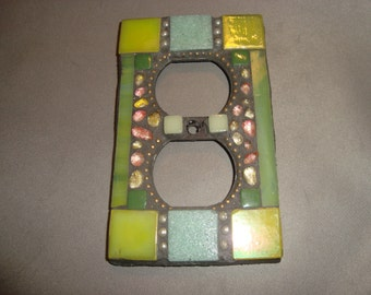 MOSAIC Electrical Outlet COVER , Wall Plate, Wall Art, White, Green, Gold, Iridescent, Amber