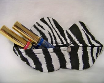 Zippy Lips in Zebra - Makeup Pouch - Coin Purse - Lipstick Pouch - Ready To Ship