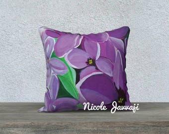 Lilac Macro 18x18 decorative pillow case