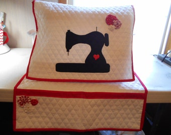 Sewing Machine Dust Cover , Mat Organizer  with Pockets, Silhouette, Protector
