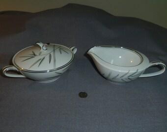 Sugar Bowl and Creamer Noritake China Bambina, Pattern 5791 Made in Japan (1956-1968) Mid Century