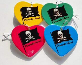 Ocracoke Island Pirate Flag Holiday Christmas ornament heart shaped porcelain ready to hang Skull