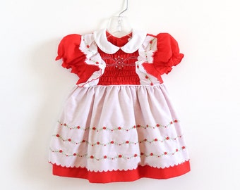 Vintage 1980s Girls Size 24M Dress / 80s Polly Flinders Hand Smocked Dress / Red White Floral, Sewn-In Apron Pinafore Style