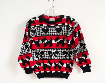 """REDUCED Vintage 1980s Girls 12 Jet Set Pullover Sweater / chest 34 length 21"""" / Red White Black, Scottish Terrier Hearts Bows"""
