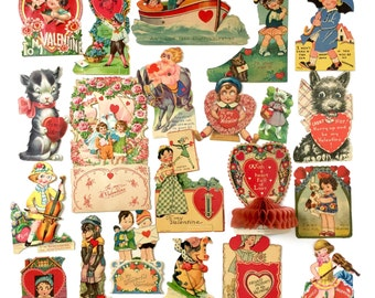 Vintage 1920s 30s Valentine's Day Cards Set of 21 USED / Assorted Folding, Standing, Articulated, Honeycomb, Boys Girls Animals