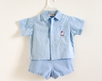 Vintage 1950s Boys Approx Size 2T Clothing Set / Boys HealthTex Stantogs Shirt Overall Shorts Playwear Set / Blue Cotton Swan Embroidery