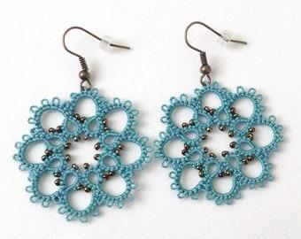 Turquoise Lace Earrings, Boho Lace Earrings, Country Turquoise Earrings, Beaded Lace Earrings, Turquoise Tatting Jewelry, Handmade Lace