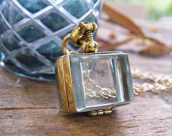 gold rectangle memory glass locket photo locket heirloom keepsake necklace 14 karat gold fill pureroxjewels exclusive design