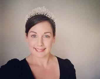 Antique Art Deco 1930s Wax Orange Blossom Wedding Tiara / Bridal Crown