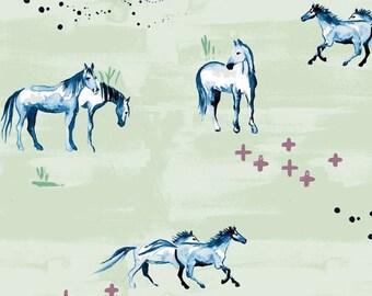 Organic Crib Sheet-Gender Neutral Sheet-Horses Baby Crib Bedding- Monaluna Fabric-Changing Pad-Mini Sheet-Light Green and Blue