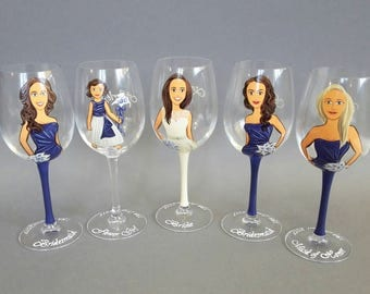 SALE Gift for Flower Girl and Bridal Party Wine or champagne Glasses Bridesmaids Personalized Caricatures Hand painted Navy blue