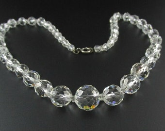 Graduated Crystal Bead Necklace, Crystal Necklace, Bridal Necklace, Wedding Necklace, Crystal Choker, Silver Crystal Necklace