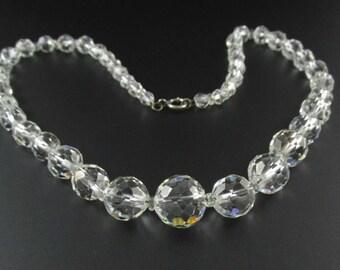 Crystal Bead Necklace, Crystal Necklace, Bridal Necklace, Wedding Necklace, Crystal Choker, Silver Crystal Necklace, 1920's Necklace