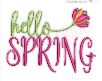 Hello Spring with Flower - Script -Instant Download Machine Embroidery Design