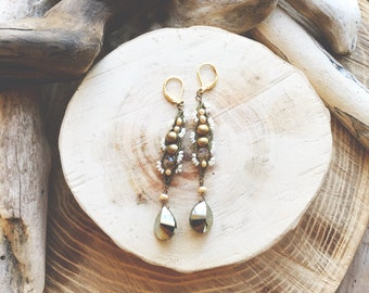 GOLDEN- Pyrite, Pearls, and Crystal Bohemian Statement Earrings