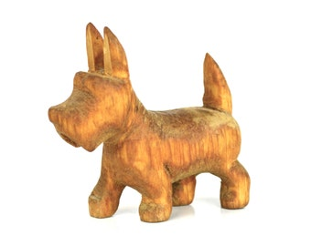 Vintage Hand Carved Wooden Scottie Dog Figurine