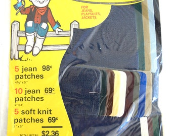 Vintage Denim & Knit Patches Iron On Repair Kit 20 Patches Rough N Ready For Permanent Press and Other Fabrics