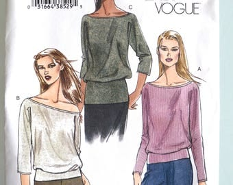 Very Easy Vogue V7933 Misses Pullover Top Size 6-12 UNCUT