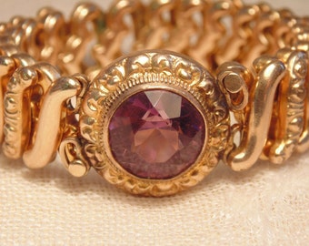 Art Deco Gold Expansion Bracelet  Gold Amethyst Bracelet Art Deco Bracelet Purple Bracelet Victorian Bracelet  Art Deco Stretch Bracelet