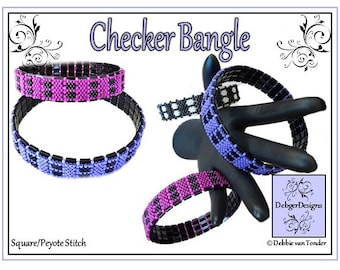 Beading Pattern, Tutorial, Bangle - CHECKER