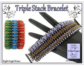 Beading Pattern, Tutoria, Right Angle Weave, Bracelet - TRIPLE STACK