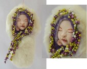 Sleeping OOAK Baby Fairy Christmas Ornament Fairies Holiday Decorations Angel Decor Fur Berries