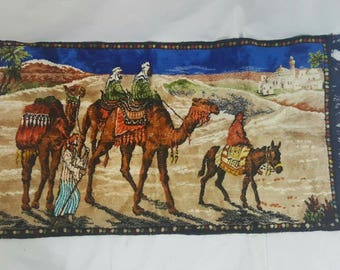 Vintage 197-0s Woven Plush Fringed Three Camels Baudouin Rug or Tapestry