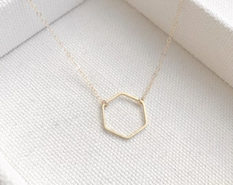 SALE ---->>> Tiny Hexagon Necklace - Dainty Gold Hexagon Charm Pendant Simple Gift - Bridal Jewelry - Simple Everyday -thelovelyraindrop