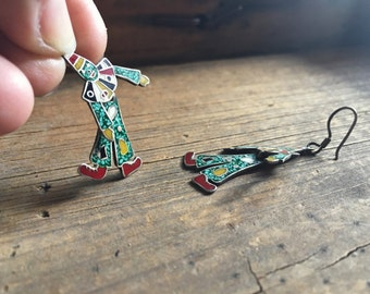 Vintage Taxco sterling silver clown earrings, Mexican modernist dancing clown earrings, Taxco earrings, Mexican silver jewelry, clown lover