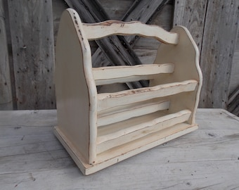Vintage Wood Magazine Rack Heavy Distressed Chalk Paint Glazed Finish