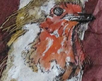 Robin mixed media artwork