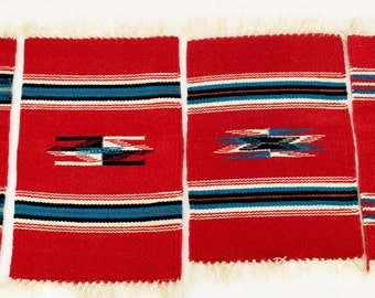 Vintage 50s Red Navajo Woven Wool Mats Set of 4