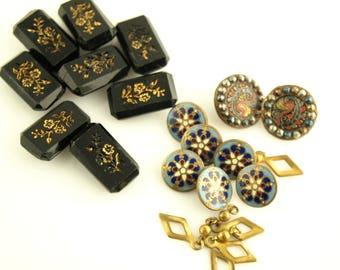 Glass and Enamel Button Lot - Cut Steel - 1900s buttons - Destash - Vintage