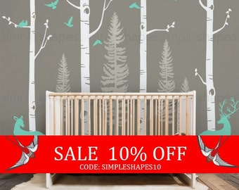 Sale - Birch Tree Wall Decal with Birds and Deer, Baby Nursery Wall Stickers, Nursery Wall Decals, Forest with Birds and Deers Stickers W...