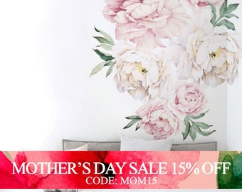 Mothers Day Sale - Peony Flowers Wall Sticker, Vintage Watercolor Peony Wall Stickers - Peel and Stick Removable Stickers
