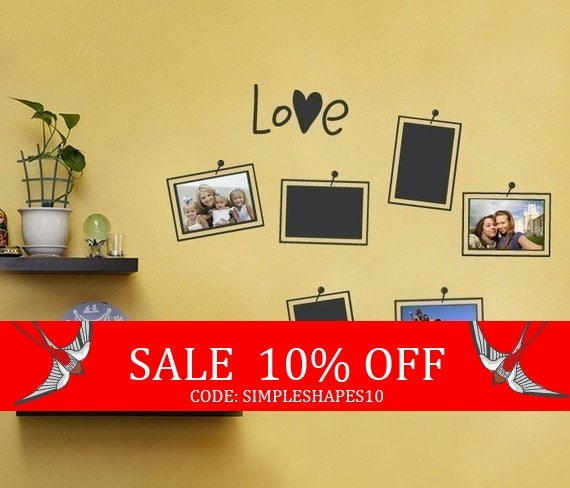 Sale - Picture and Photo Frame Layout Decal - Photo Love - Vinyl Wall Sticker