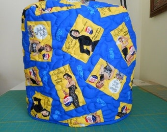 Quilted stand mixer cover - Retro Pepsi themed fabric, yellow, blue and black