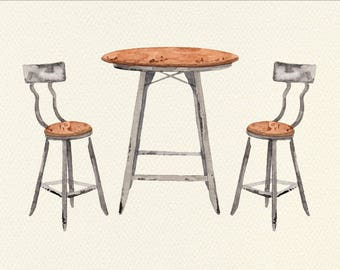 Cafe Table Unframed Watercolor Art Print