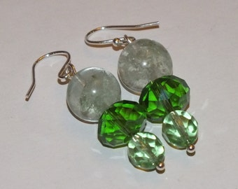 Sterling Silver And Green Moss Quartz Dangle Earrings