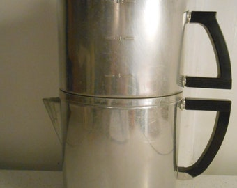 Wear-Ever 4 Pc. Aluminum Non Electric Stove Top Coffee Maker/4 to 12 Cup Coffee Maker/50's-60's Era