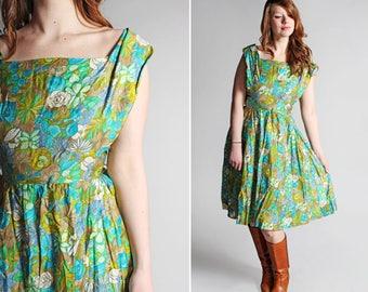 Vintage 1950s Floral Summer Dress -  Blue Green Teal Boat Neck Full Circle 50s 60s Women's Midi Flowers Summer Resort - Size Medium