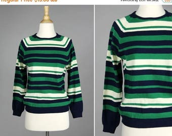 SALE FINAL SALE Vintage Kelly Green and Navy Striped Pull Over- Blue White 1970s Long Sleeve Crew neck Sweater- Size Medium M