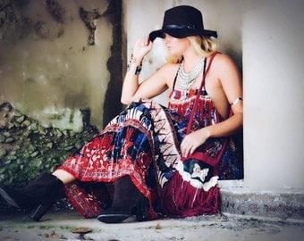 Hippie Chic Indian print halter dress, Boho dress, Coachella Music Festival Clothing, Romantic Bohemian clothing, red, True Rebel Clothing